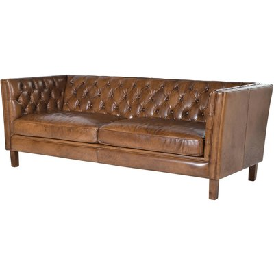 Italian Leather Two Or Three Seat Button Studded Sofa