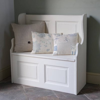 Two Seater Monks' Bench Hand Painted In Any Colour, White/Light Blue/Blue