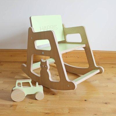 Personalised Wooden Children's Rocking Chair, Pastel Pink/Pink/Pastel Purple