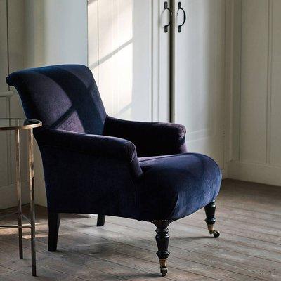 Finley Velvet Armchair, Midnight Blue, Blue