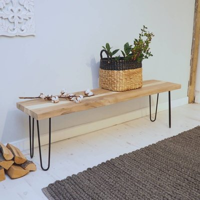 Industrial Wood Hallway Bench