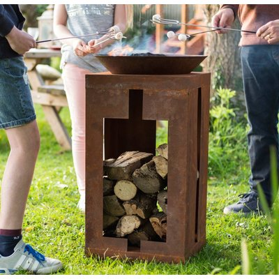 Large Tall Firepit With Wood Store
