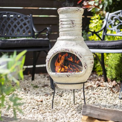 Vintage Cream Clay Chiminea