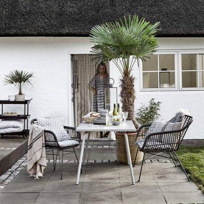 Garden Armchair With Seatpad In Black