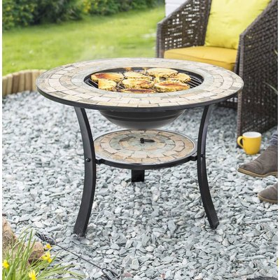 Mosaic Tiled Firepit With Grill And Shelf