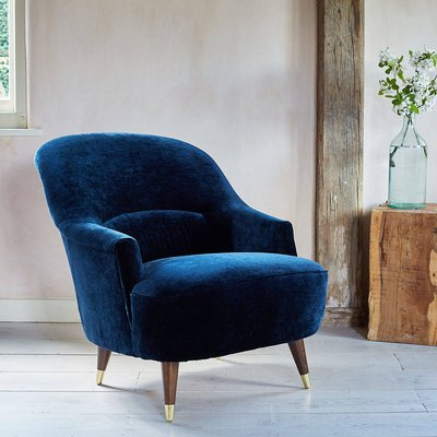 The New Pinta Armchair In Luxe Velvet, Blue