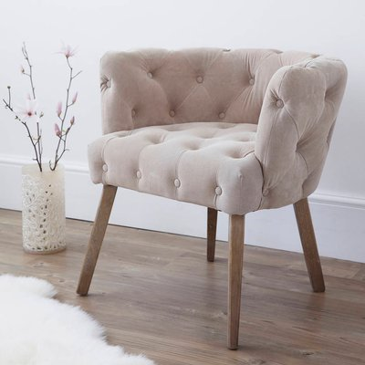 Natural Suede Button Back Occasional Chair