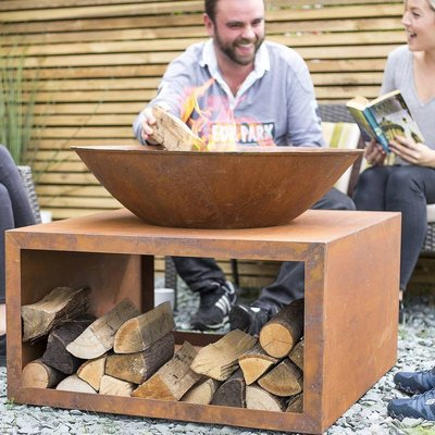 Oxidised Cast Iron Firepit With Steel Stand