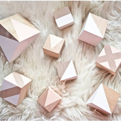 Deluxe Wooden Building Blocks, Sunshine/Blush/Pink