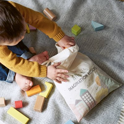 Building Blocks In A Personalised Bag