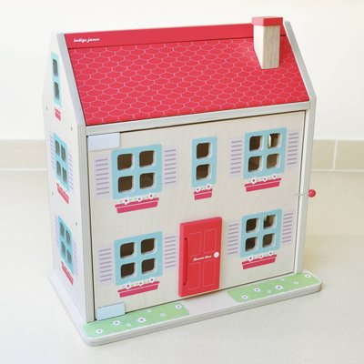 Wooden Dolls House Complete With Family And Furniture