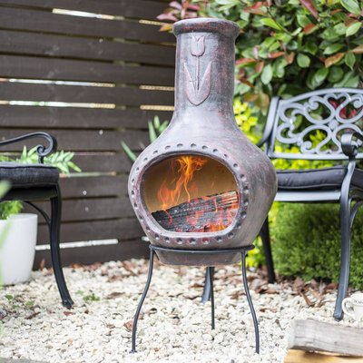 Dark Red Tulip Clay Chiminea