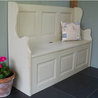 Three Seater Monks' Bench Hand Painted In Any Colour, White/Light Blue/Blue