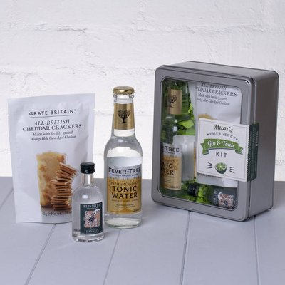 Mum's Emergency Gin And Tonic Kit With Crackers