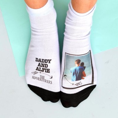 Personalised Daddy and Me Adventurers Photo Socks