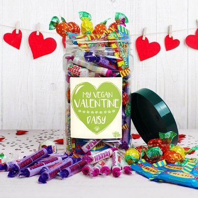 Personalised Vegan Valentines Sweet Jar