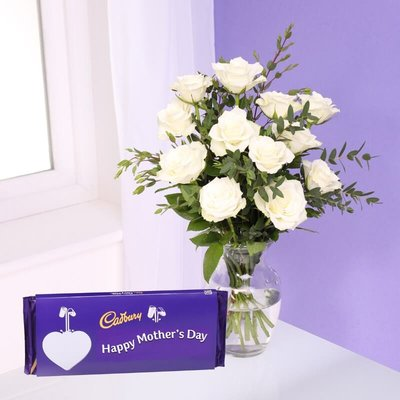 Mothers Day Roses & Cadbury Bouquet