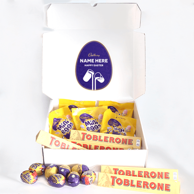 Personalised Mini Egg and Toblerone Chocolate Easter Hamper