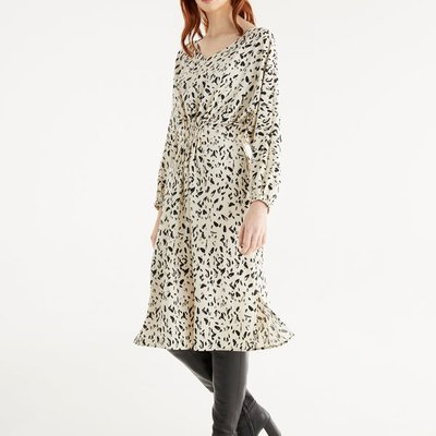 Graphic print dress with elastic waist detail