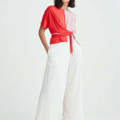 Short sleeve two-tone wrap top