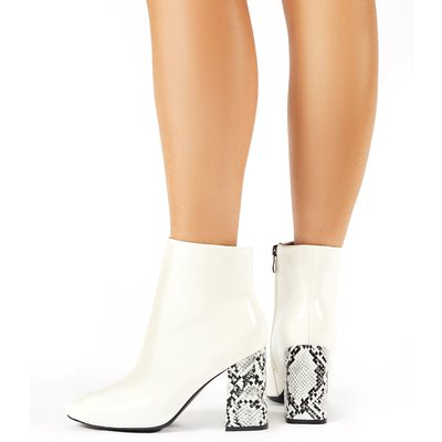 Vesper Contrast Heeled Ankle Boots, White