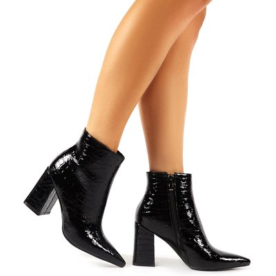 Hollie Pointed Toe Ankle Boots  Croc, Black