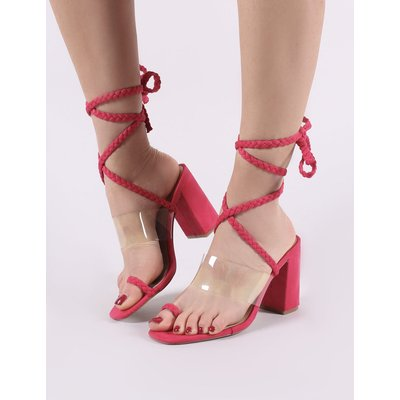 Mia Lace Up Block Heeled Sandals in Fuchsia Faux Suede, Pink