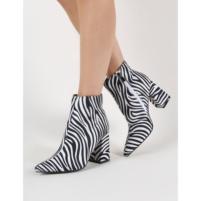 Hollie Pointed Toe Ankle Boots in Zebra Print, Black
