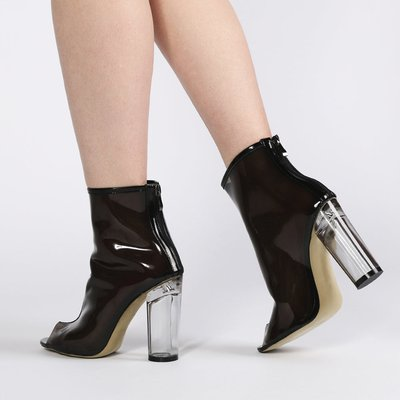 Star Perspex Heel Ankle Boots in Smoke, Black