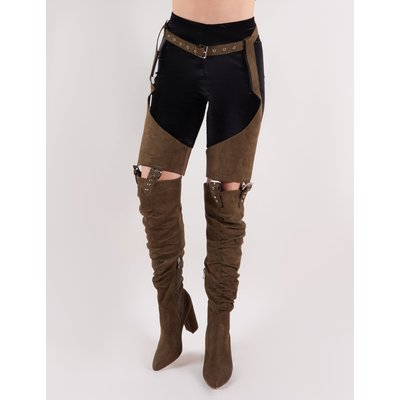 Sterling Belted Over the Knee Boots in Khaki Faux Suede, Green