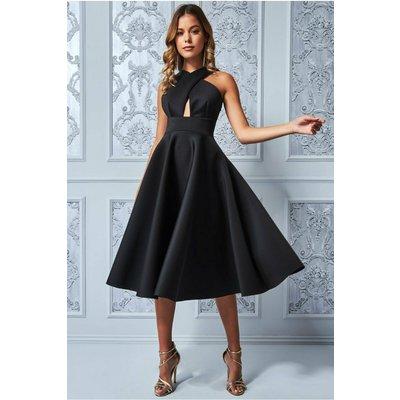 Goddiva Crossover Keyhole Midi Dress - Black