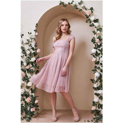 Goddiva One Shoulder Bardot Sequin & Mesh Midi Dress - Blush