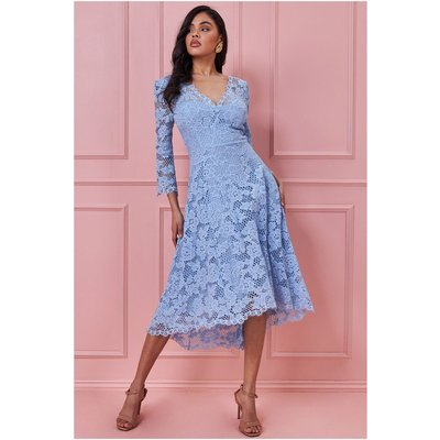 Goddiva High Low Lace Midi Dress - Duskyblue