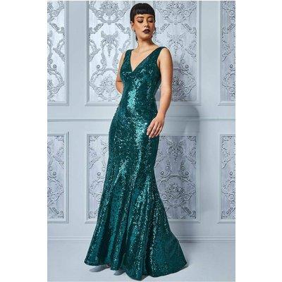 Goddiva Sequined Low V Neck Maxi Dress - Emerald