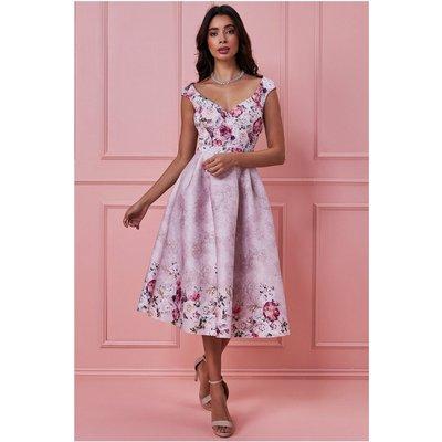 Goddiva Sweetheart Floral Midi Dress - Blush