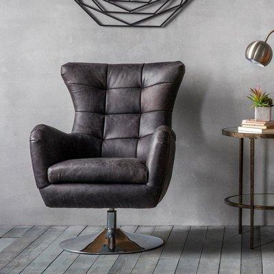 Hudson Living Bristol Leather Swivel Chair in Antique Black