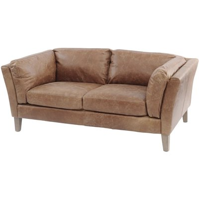 Libra Botanical Tan Leather Two Seater Sofa
