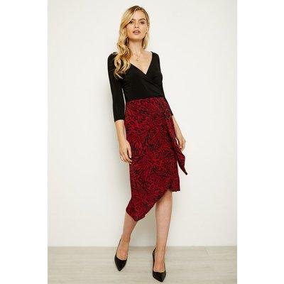 Red & Black Animal Print Buckle Detail Wrap Skirt