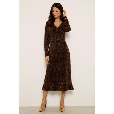 Bronze Metallic Multi Thread V Neck Ruffle Hem Dress