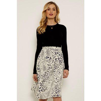 Cream Abstract Animal Print Midi Skirt