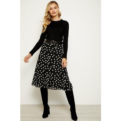 Black & White Polka Dot Print Midi Skirt