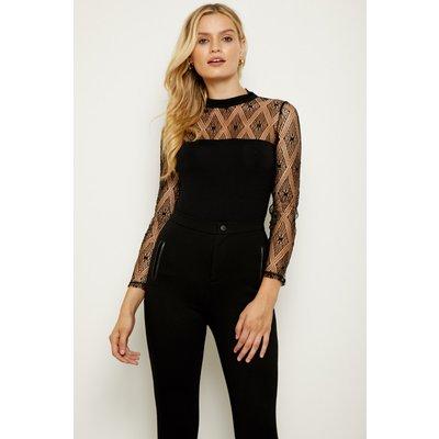 Black Diamond Lace Sleeve Top