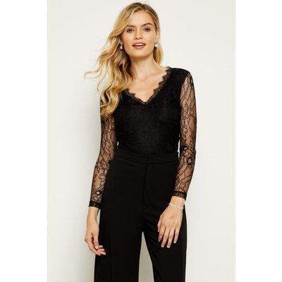 Black Long Lace Sleeve V Neck Top