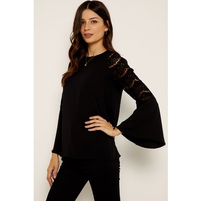 Black Lace Detail Fluted Cuff Top