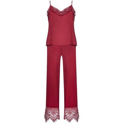 Burgundy Lace Trim Satin Cami Top & Lace Trim Long Pants PJ Set