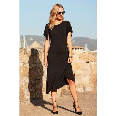 Black Frill Sleeve Jersey Tea Dress