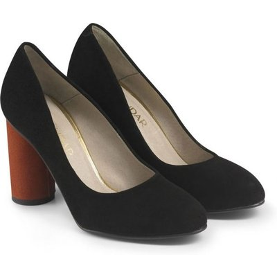Black Suede Cylinder Heel Court Shoe