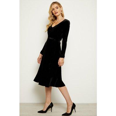 Black Velvet Ruffle Hem V Neck Dress