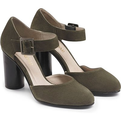 Olive Green Suede 2-Part Court Shoe