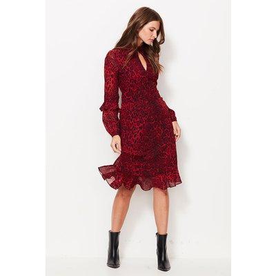 Red Leopard Print Fit & Flare Ruffle Dress